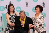 LOS ANGELES - APR 12:  Danielle Sarah Lewis, Jerry Lewis, SanDee Pitnick at the Jerry Lewis Hand and