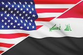 Series Of Ruffled Flags. Usa And Republic Of Iraq.