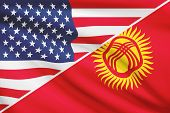 Series Of Ruffled Flags. Usa And Kyrgyz Republic.