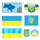vector illustration Map Emblem and Flag of Ukraine