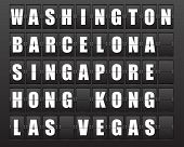 Flight destination, information display board named world cities Washington, Barcelona, Singapore, Hong Kong, Las Vegas. Scoreboard airport. Illustration. Vector.  poster