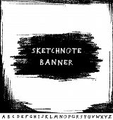 Hand drawn sketchnote banner with alphabet