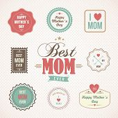 Happy Mothers Day Labels And Icons Set