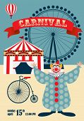 Vintage carnival, circus poster, invitation template vector illustration