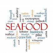 pic of bluegill  - Seafood Word Cloud Concept with great terms such as lobster haddock shrimp and more - JPG