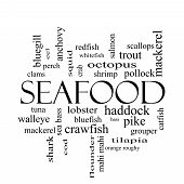 picture of bluegill  - Seafood Word Cloud Concept in black and white with great terms such as lobster haddock shrimp and more - JPG