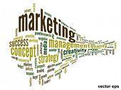 Vector eps concept or conceptual 3D abstract business marketing  word cloud or wordcloud isolated on