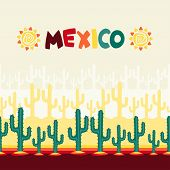 stock photo of mexican  - Mexican seamless pattern with cactus in native style - JPG
