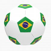3d render of soccer football with Brazilian flag on white background