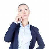 Thinking Business Woman On White Background