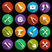 foto of spade  - Construction or house renovation working tools icons set isolated vector illustration - JPG