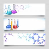 stock photo of flask  - Chemical laboratory glassware flasks and tubes banner set with molecular background vector illustration - JPG