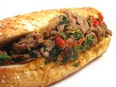 pic of cheese-steak  - A Philadelphia cheesesteak sandwhich with prosciutto - JPG