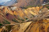 Beautiful multicolored mountains at Landmannalaugar, Iceland