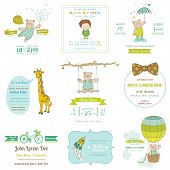 stock photo of stork  - Set of Baby Shower and Arrival Cards  - JPG