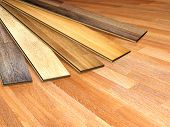 New oak parquet of different colors