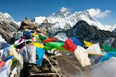 pic of dharma  - view of everest from gokyo ri with prayer flags  - JPG