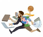 pic of multitasking  - Cartoon super busy man and father multitask doing many works running to the office shopping playing basketball working and talking on the phone while his baby girl sleeping - JPG