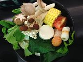 foto of shabu  - the vegetable set for shabu mushroom sweet corn - JPG