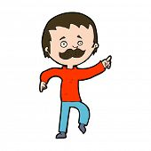 cartoon man with mustache pointing