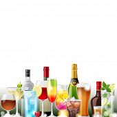 Alcohol cocktails and bottles over white background - vector