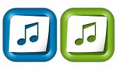 Set Of Two Icons With Paper And Music Icon