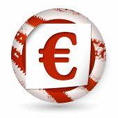 Red Abstract Icon With Paper And Euro Sign