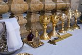 Mafra, Portugal - September 02, 2013: Rite objects prepared for a Catholic Mass in the Basilica of t