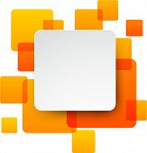 Vector illustration of white paper square speech bubble over orange background. Eps10.