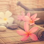 stock photo of frangipani  - Spa setting - JPG