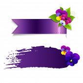 Blob And Ribbon Banner With Flowers With Gradient Mesh, Vector Illustration