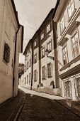 Prague street. Black and white sepia toned