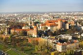KRAKOW, POLAND - OCT 20, 2013: Aerial view of Royal Wawel castle with park. The monument to the hist