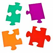 Few Separated Jigsaw Puzzle Pieces