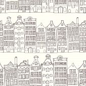 pic of row houses  - Seamless sketchy amsterdam holland background - JPG