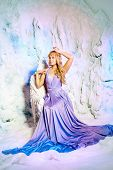 Young beauty woman in princess dress on a background of a winter fairy tale. Girl snow queen. Sweet