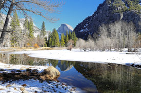 pic of granite dome  - Half Dome and its reflection in the Merced River  - JPG