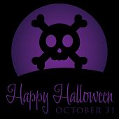 picture of skull cross bones  - Skull And Cross Bones Rising Moon Halloween Card In Vector Format - JPG