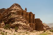 image of camel-cart  - Facade of the Monastery one of the famous monuments of the ancient Nabatean city of Petra Jordan - JPG