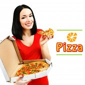 picture of take out pizza  - Beautiful girl with delicious pizza in pizza box isolated on white - JPG