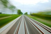 picture of high-speed  - Railway tracks with high speed motion blur - JPG