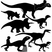 picture of dilophosaurus  - isolated dinosaur and dinosaur with the kid silhouette vector - JPG
