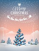 picture of christmas greetings  - Christmas greeting card with the village landscape and snowfall - JPG