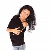 picture of straight jacket  - Glamorous young woman in black jacket and jeance on white background studio - JPG