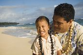 picture of pacific islander ethnicity  - Pacific Islander father and son at beach - JPG