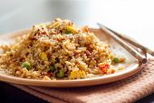 image of chinese restaurant  - Fried Rice with Vegetables and fried eggs  - JPG