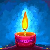 picture of ganpati  - vector illustration of holy diya for Diwali festival - JPG