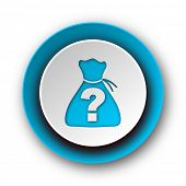 image of riddles  - riddle blue modern web icon on white background  - JPG