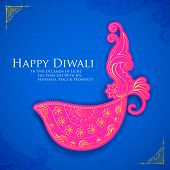 pic of dharma  - vector illustration of Happy Diwali diya with colorful floral - JPG