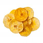 stock photo of plantain  - Platano plantain chips on white background close up - JPG